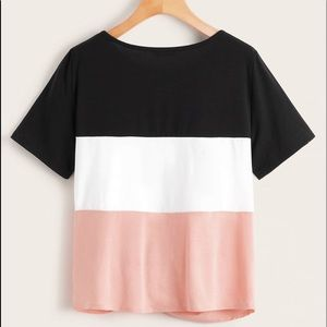 Black pink and white shirt